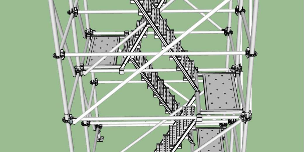 双排爬梯搭建示意图